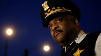 Chicago Police Superintendent Eddie Johnson listens to a question about patrolling a neighborhood wearing a body camera in Chicago, Illinois, United States, May 6, 2016.     REUTERS/Jim Young