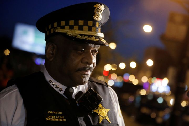 Chicago Police Superintendent Eddie Johnson listens to a question about patrolling a neighborhood while wearing a body camera