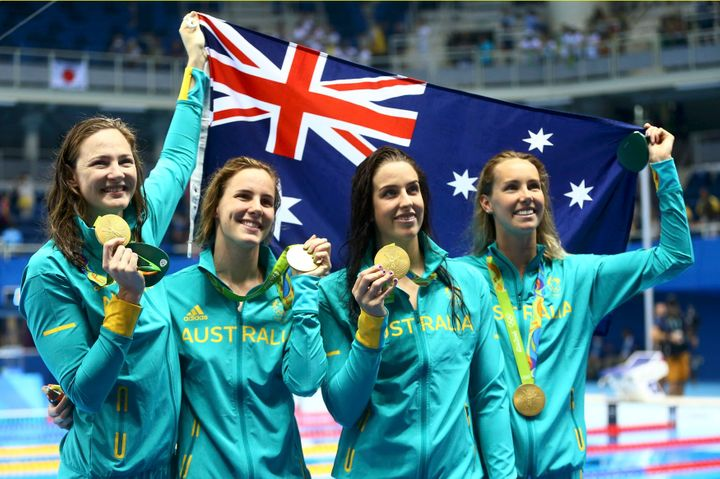 "Cate Campbell, Bronte Campbell, Brittany Elmslie and Emma McKeon (pictured left to right) bonded by singing ""Get Low"" prior t"
