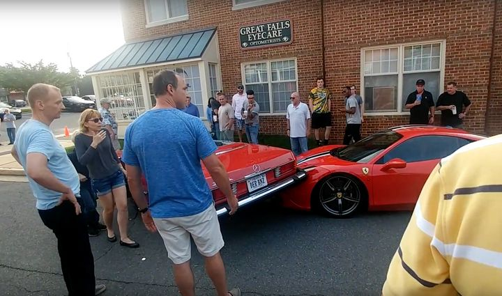 A man who appears to be the Ferrari's owner is seen confronting the shellshocked family.
