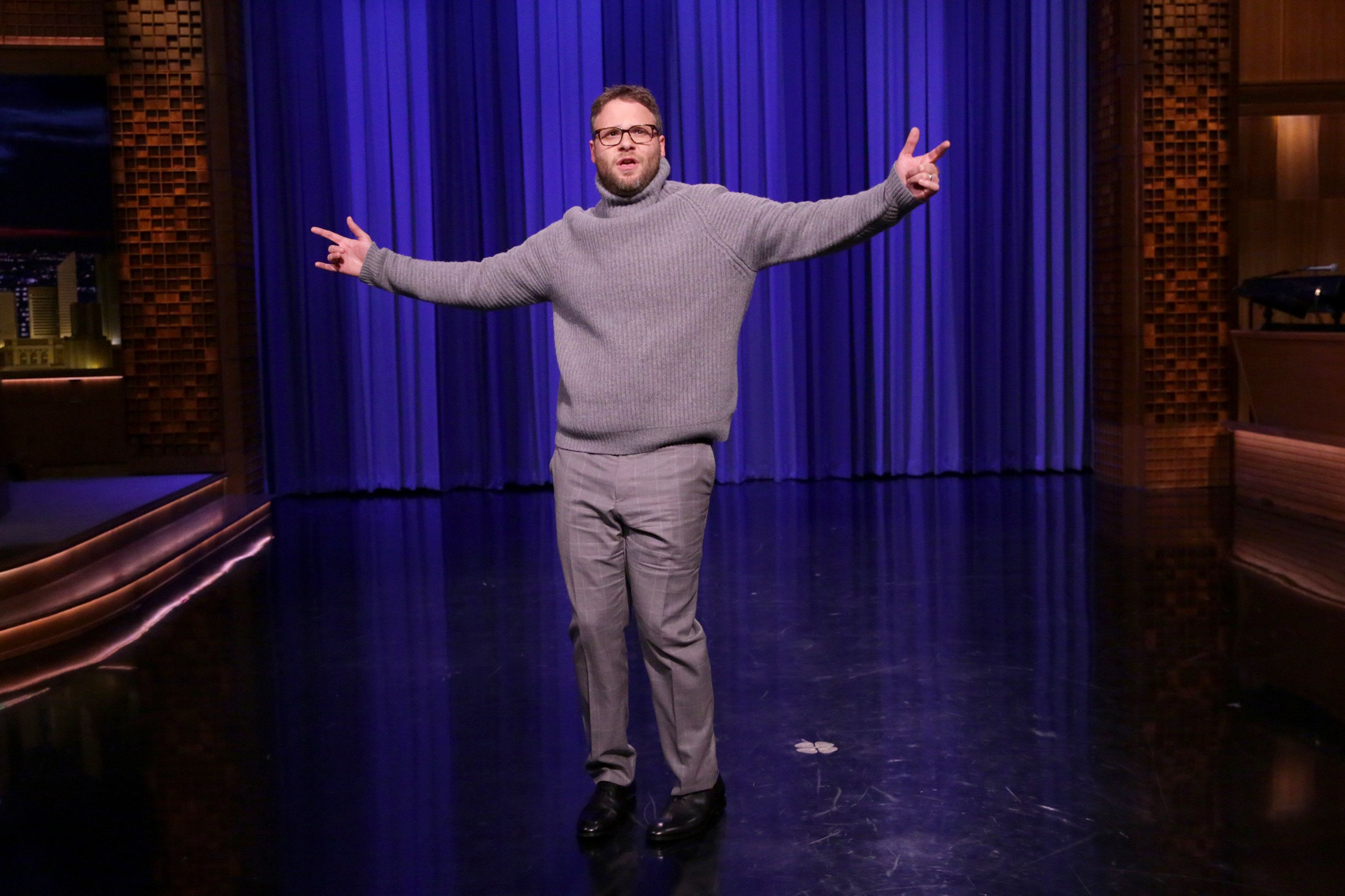 THE TONIGHT SHOW STARRING JIMMY FALLON -- Episode 0516 -- Pictured: Actor Seth Rogen during the 'Lip Sync Battle' sketch on August 5, 2016 -- (Photo by: Andrew Lipovsky/NBC/NBCU Photo Bank via Getty Images)