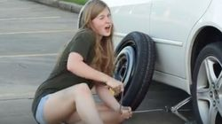 Woman's Sarcastic, Naughty Guide To Changing A Tire Is A Wheel