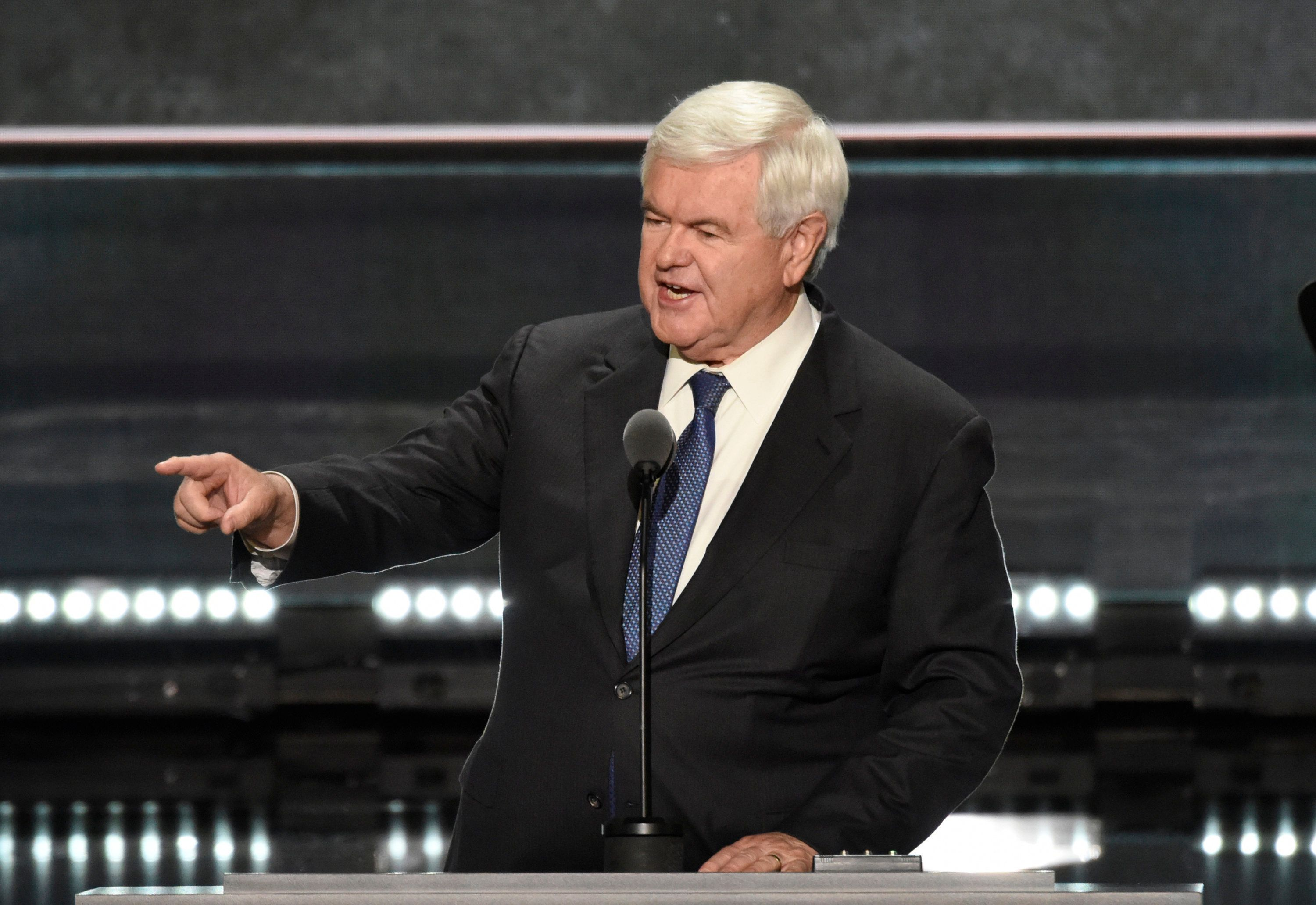 ABC NEWS - 7/20/16 - Coverage of the 2016 Republican National Convention from the Quicken Loans Arena in Cleveland, Ohio, which airs on all ABC News programs and platforms.   (Photo by Ida Mae Astute/ABC via Getty Images)   NEWT GINGRICH