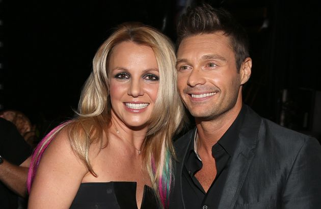 Britney Spears and Ryan Seacrest backstage at the 2012 iHeartRadio Music Festival at MGM Grand Garden...