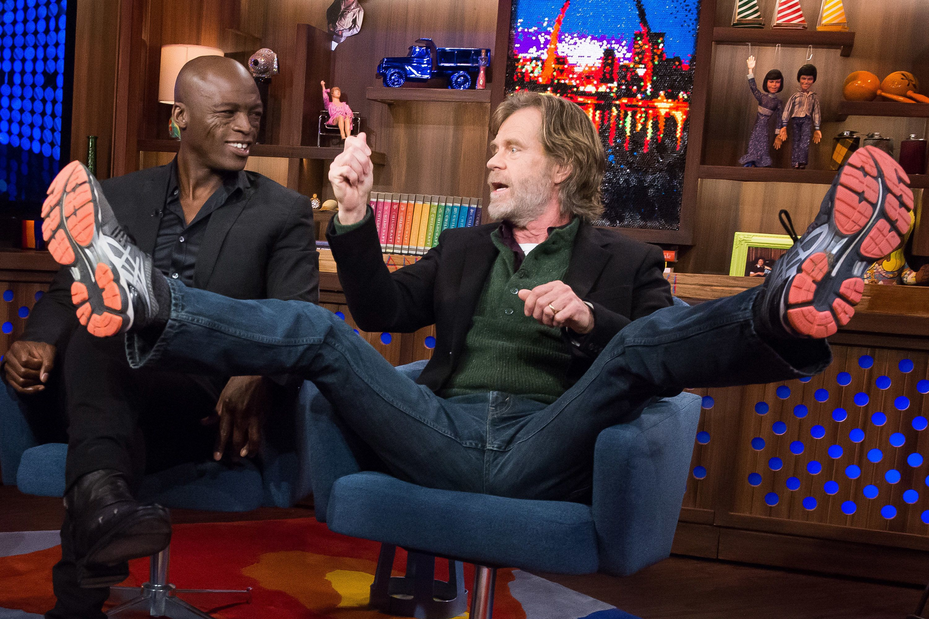 WATCH WHAT HAPPENS LIVE -- Pictured (l-r): Seal and William H. Macy -- (Photo by: Charles Sykes/Bravo/NBCU Photo Bank via Getty Images)