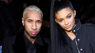 NEW YORK, NY - FEBRUARY 13:  Music artist Tyga and TV personality Kylie Jenner attend the Alexander Wang Fall 2016 fashion show during New York Fashion Week at St. Bartholomew's Church on February 13, 2016 in New York City.  (Photo by Jamie McCarthy/Getty Images)