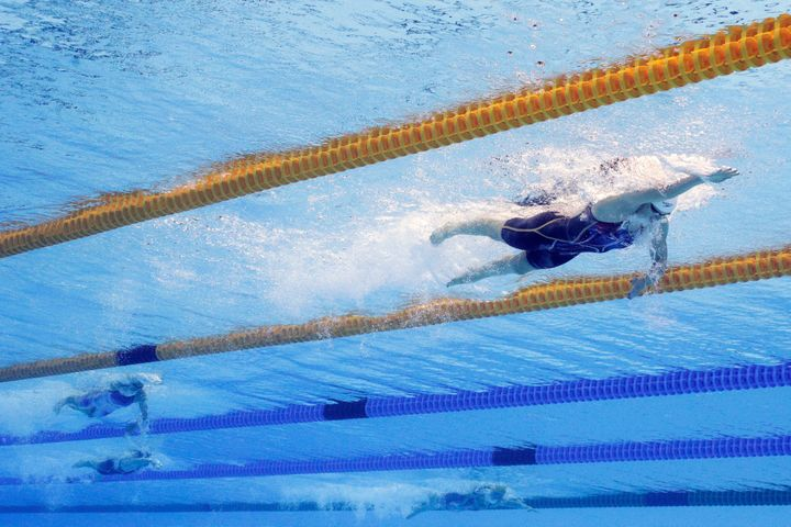 Katie Ledecky of the United States competes in the Women's 400m Freestyle heat on Day 2 of the Rio 2016 Olympic Games.