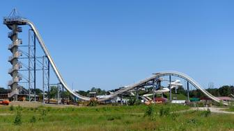 A general view of the Verruckt waterslide at the Schlitterbahn Waterpark in Kansas City, Kansas July 8, 2014 before its scheduled opening on July 10. The slide, at 168 feet 7 inches (51.38 metres), is the world?s tallest waterslide according to the Guinness World Records. It has had its opening postponed three times. Picture taken July 8.  REUTERS/Dave Kaup  (UNITED STATES - Tags: SOCIETY)