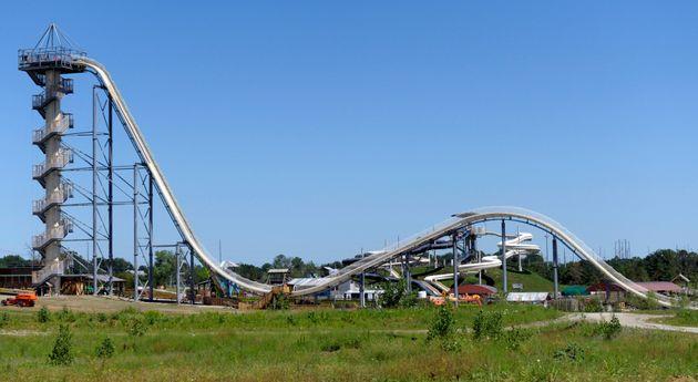 A general view of the Verrückt water slide at the Schlitterbahn Waterpark in Kansas City, Kansas,...