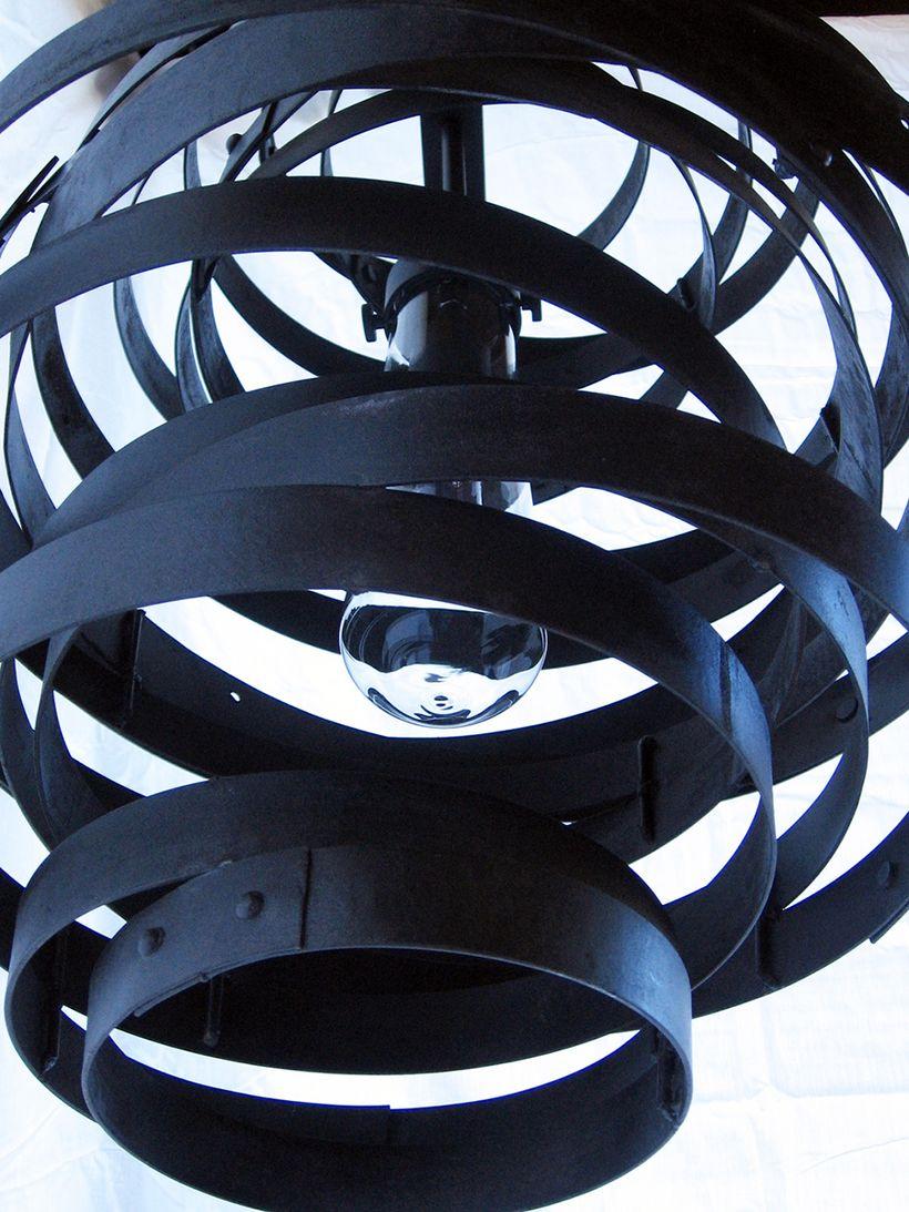 "<a href=""http://www.stilnovodesigns.com"" target=""_blank"">Recycled Wine Barrel Steel Hoops Pendant Light</a>"