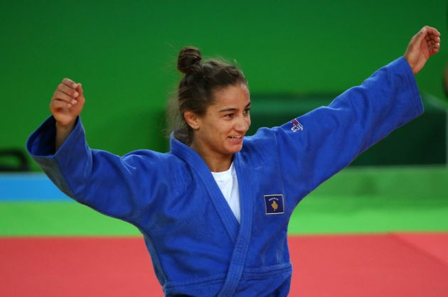 Majlinda Kelmendi, Kosovo's first Olympic medallist, celebrates her