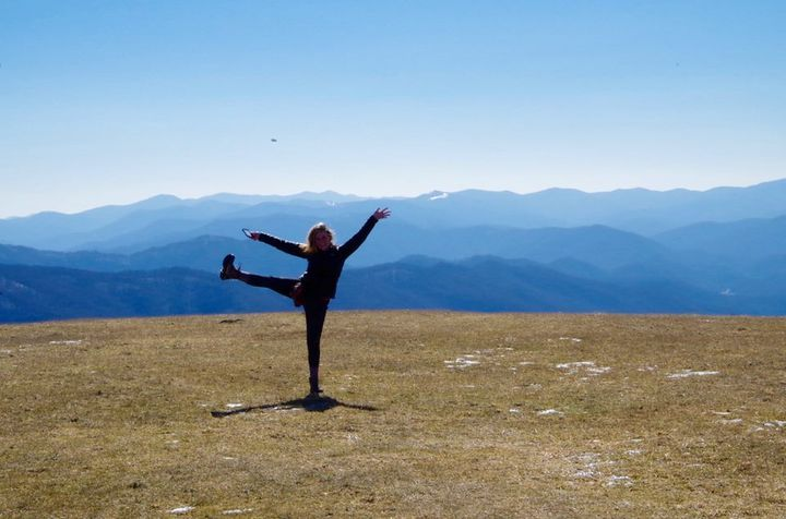The author goofing around at Max Patch, North Carolina.