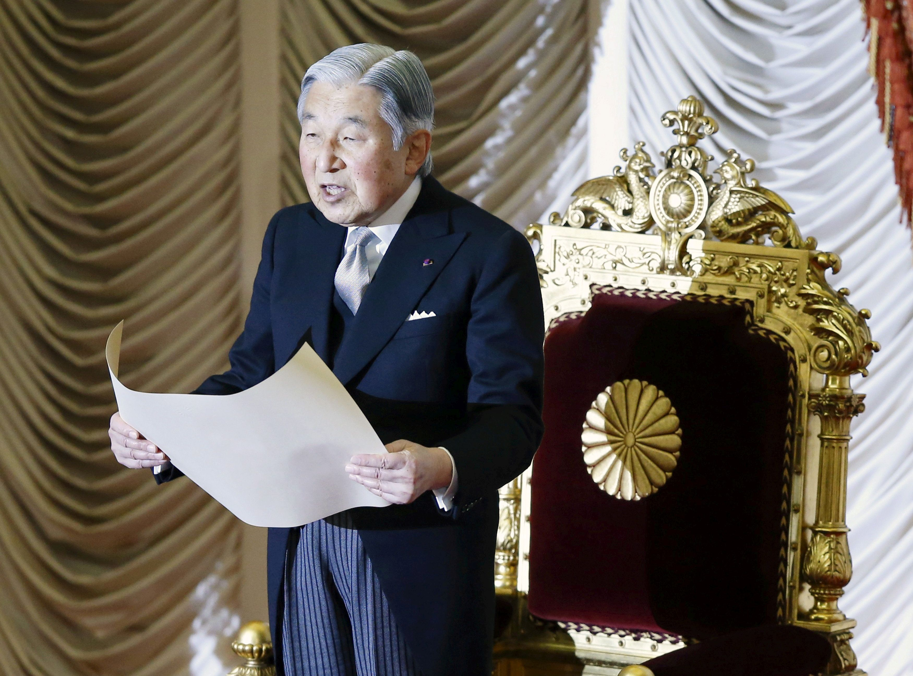 Japan's Emperor Akihito declares the opening of the ordinary session of parliament in Tokyo, Japan, January 4, 2016. REUTERS/Toru Hanai/File photo