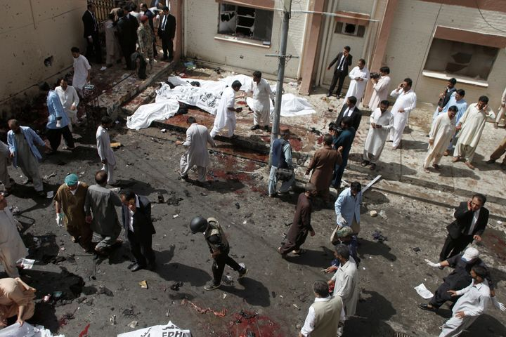 A view from the scene following the explosion outside a hospital in Quetta, Pakistan.