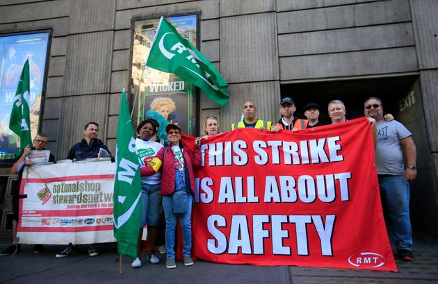 A picket line opposite Victoria Station in