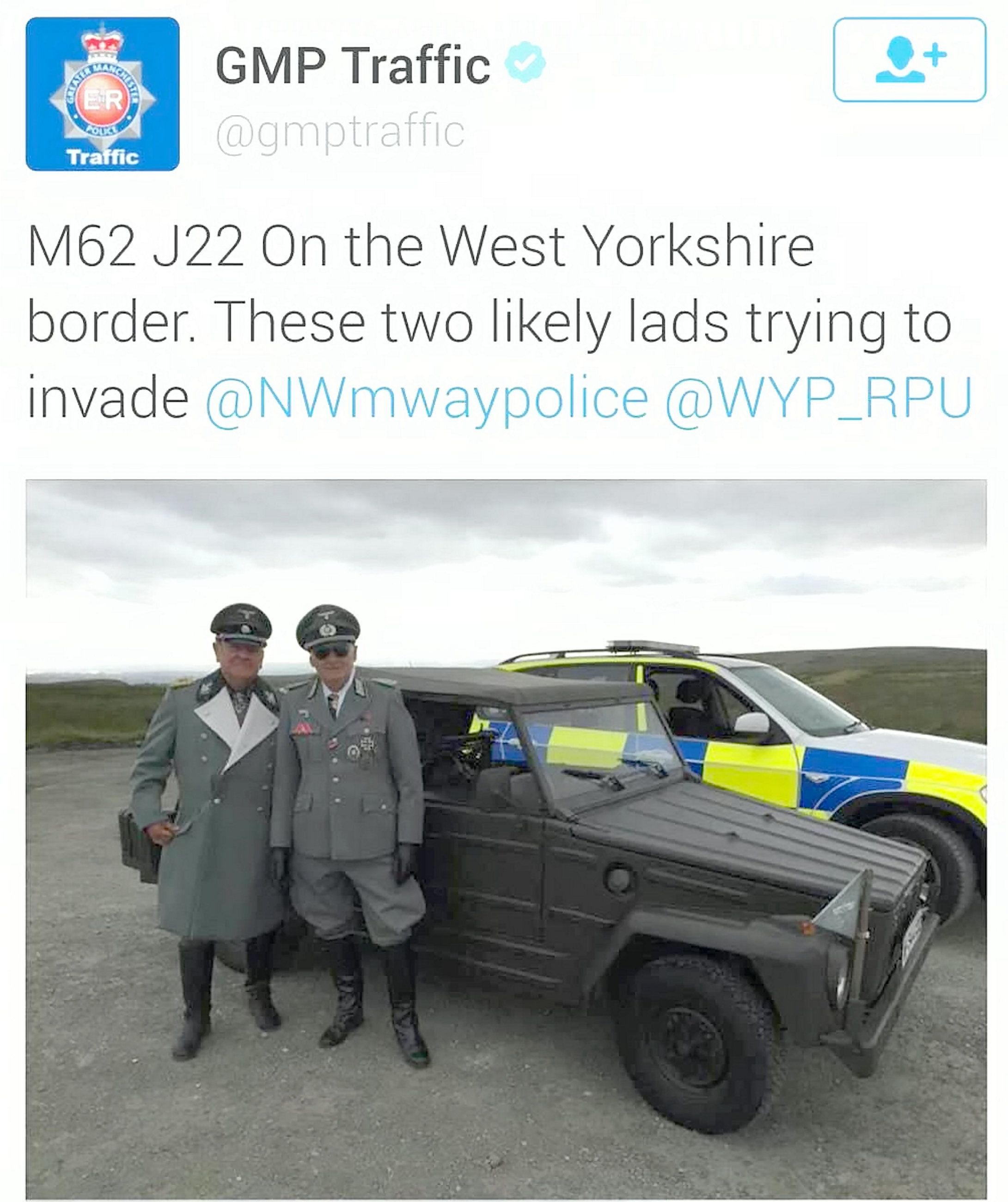 Greater Manchester Police's traffic unit sparked outrage after tweeting this image of two men dressed...