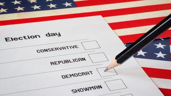 Fictional elections ballot. Selection of a candidate from the Democrats