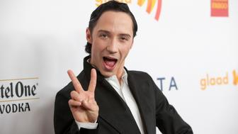 Ice skater Johnny Weir arrives at the 23rd annual Gay and Lesbian Alliance Against Defamation (GLAAD) Media Awards in New York March 24, 2012.   REUTERS/Andrew Kelly  (UNITED STATES - Tags: ENTERTAINMENT SPORT FIGURE SKATING PROFILE)
