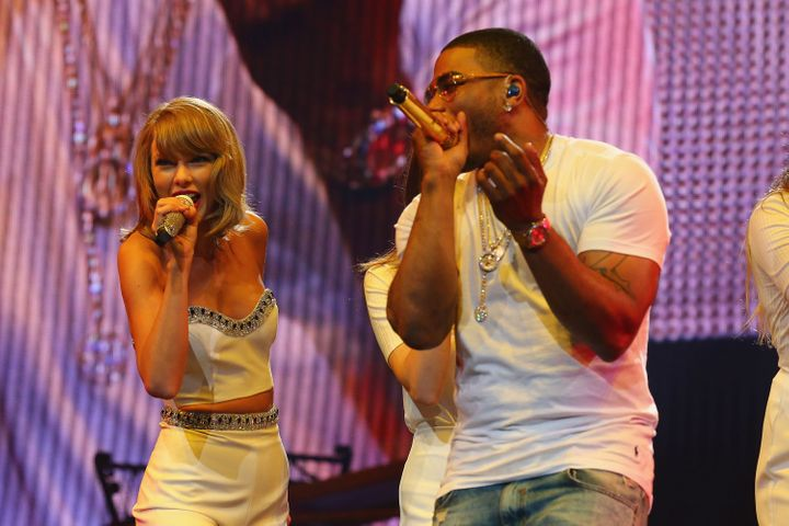 Taylor Swift performs with HAIM and special guest Nelly onstage during the 1989 World Tour on Sep. 29, 2015, in S.t Loui