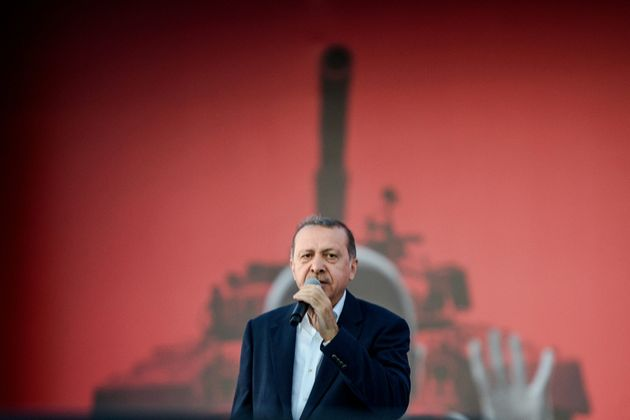 Turkish President Recep Tayyip Erdogan speaks on August 7, 2016 in Istanbul during a rally against the...
