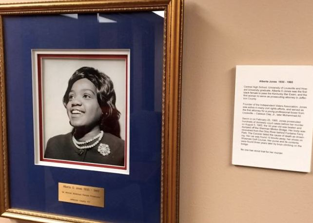 A photo of Alberta Jones on display in the Jefferson County Attorney's Office in Louisville.