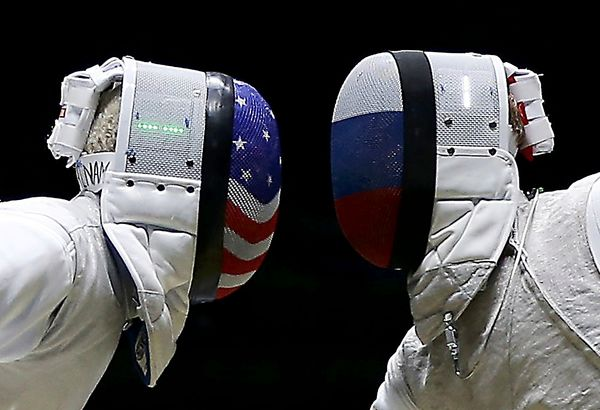 Miles Chamley-Watson of the U.S. competes with Artur Akhmatkhuzin of Russia.