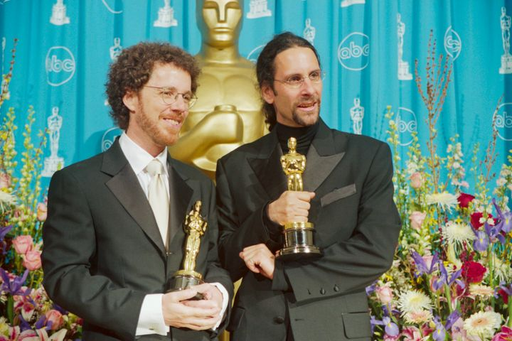 """Ethan and Joel Coen with their Oscars after winning Best Screenplay for """"Fargo."""""""