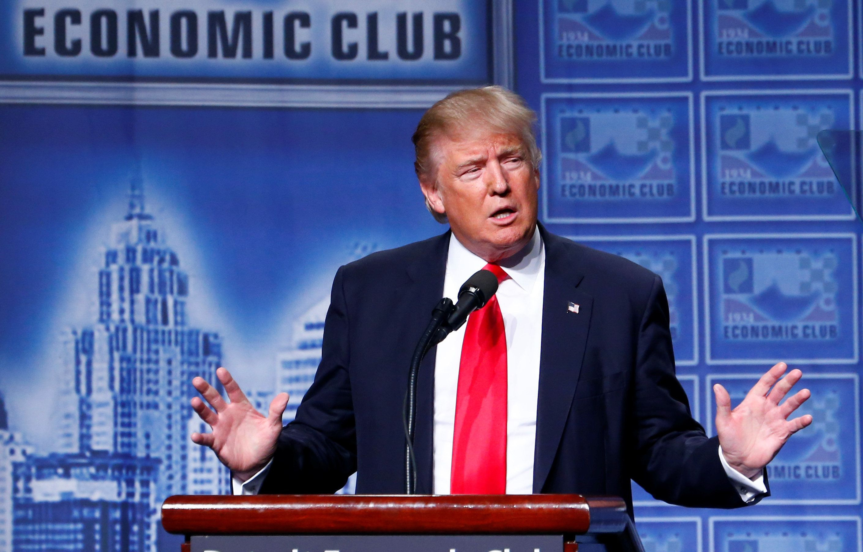 GOP presidential nominee Donald Trump had a few interruptions during Monday's speech at the Detroit Economic Club.