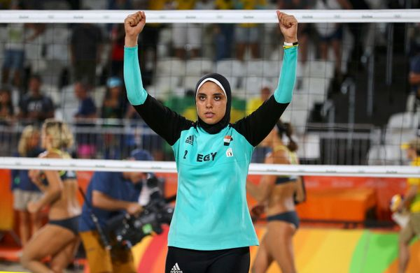 Doaa Elghobashy, from Egypt, throws up her hands.