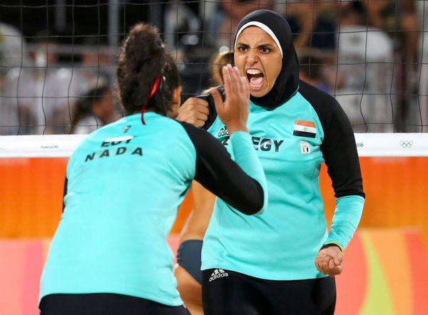 Elghobashy and teammateNada Meawad.