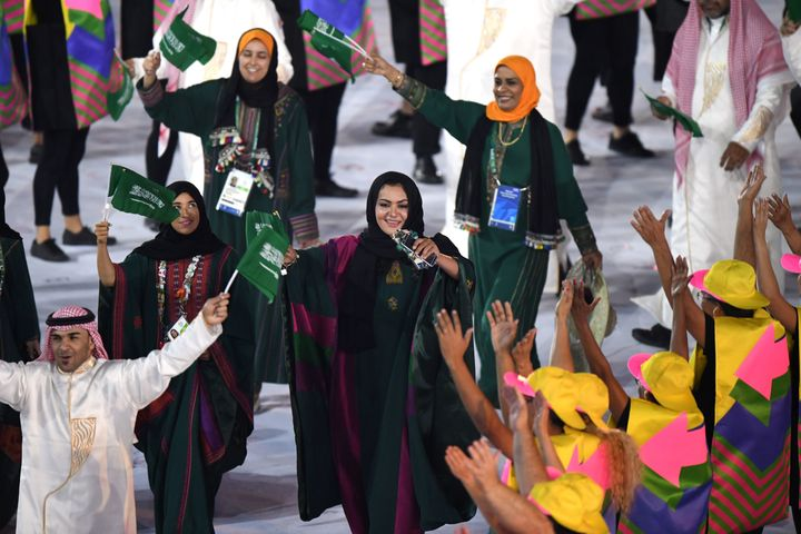 Saudi Arabia's delegation parades during the opening ceremony of the Rio 2016 Olympic Games at the Maracana stadium in Rio de