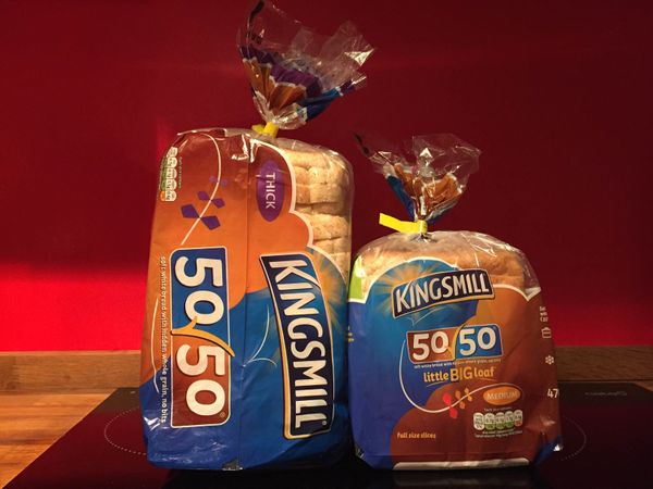 The slices of bread inside a Kingsmill's Little Big Loaf, right, are the same size as those in the company's larger bags, lef