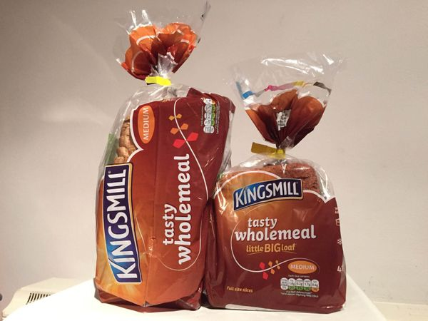 Kingsmill's Little Big Loaf, right, comes with fewer slices than a typical Kingsmill loaf, left. The company believ