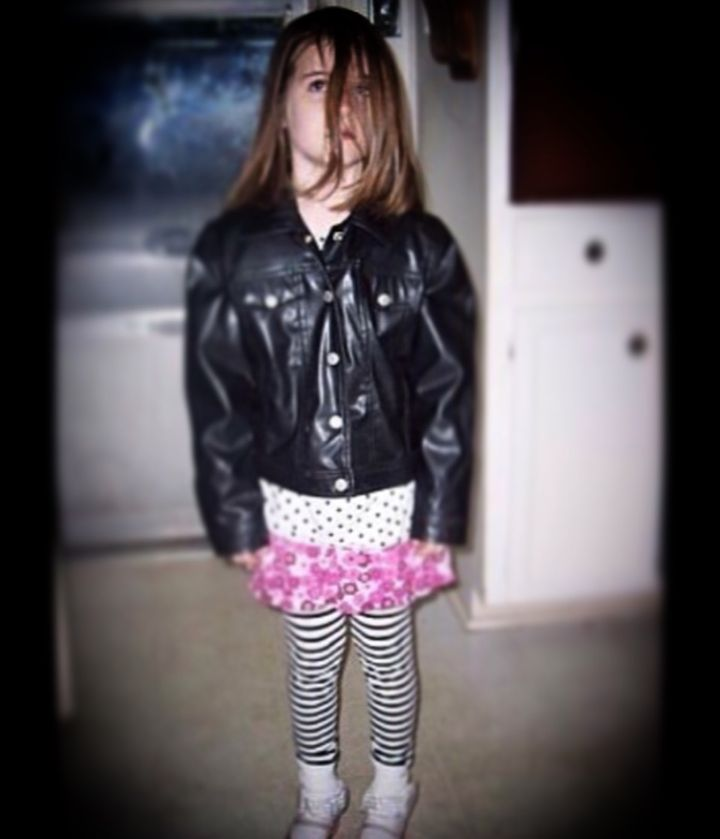<i>My daughter, showcasing one of her childhood signature church looks: deviant punk. </i>