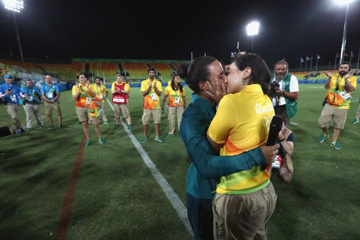 Marjorie Enya, right, and her partner Isadora Cerullo kiss in Deodoro Stadium in Rio.