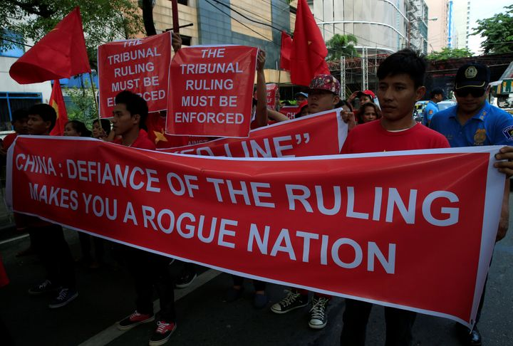 Activists protest over the South China Sea disputes in front of a Chinese consulate in Manila.