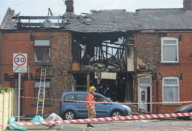 Ten people were injured after this house in Greater Manchester exploded in the early hours of Tuesday