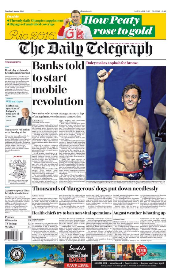 The Daily Telegraph's front
