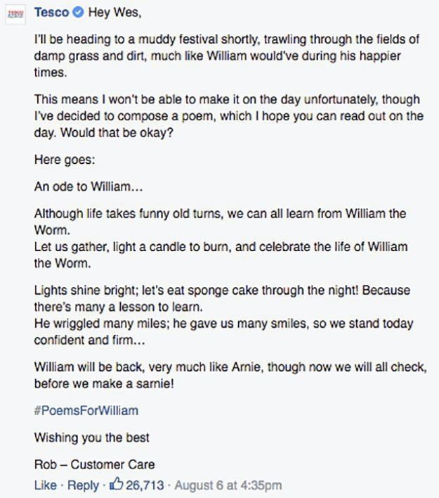 Tesco Wrote A 'Wonderwall' Inspired Poem For A Dead Worm Found In One Of Their