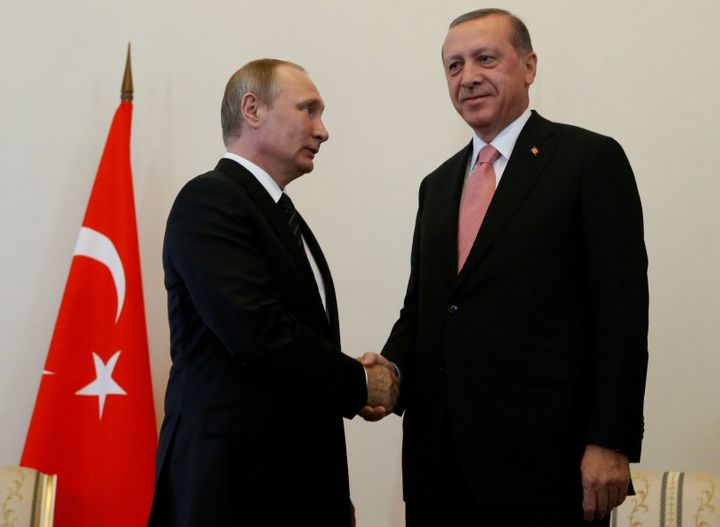 Russian President Vladimir Putin shakes hands with Turkish President Tayyip Erdogan during their meeting in St. Petersburg, R