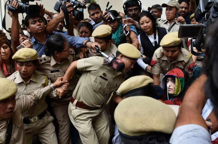 Human rights activist Irom Sharmila being brought to the Cheirap court on August 9, 2016 in Imphal, India.