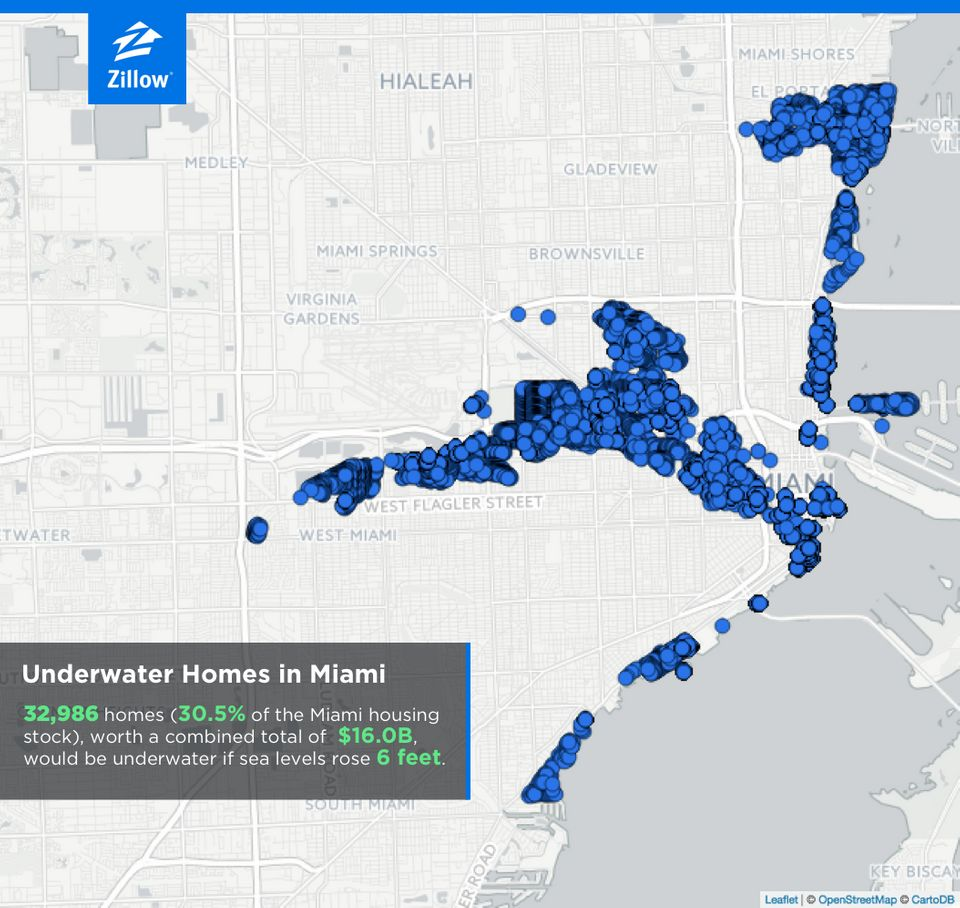 A report from Zillow analyzes how climate change could impact cities' housing markets, showing how many houses would be