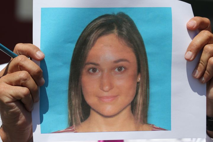 Vanessa Marcotte's photo is seen being held up during a press conference Monday in Princeton, Massachusetts.