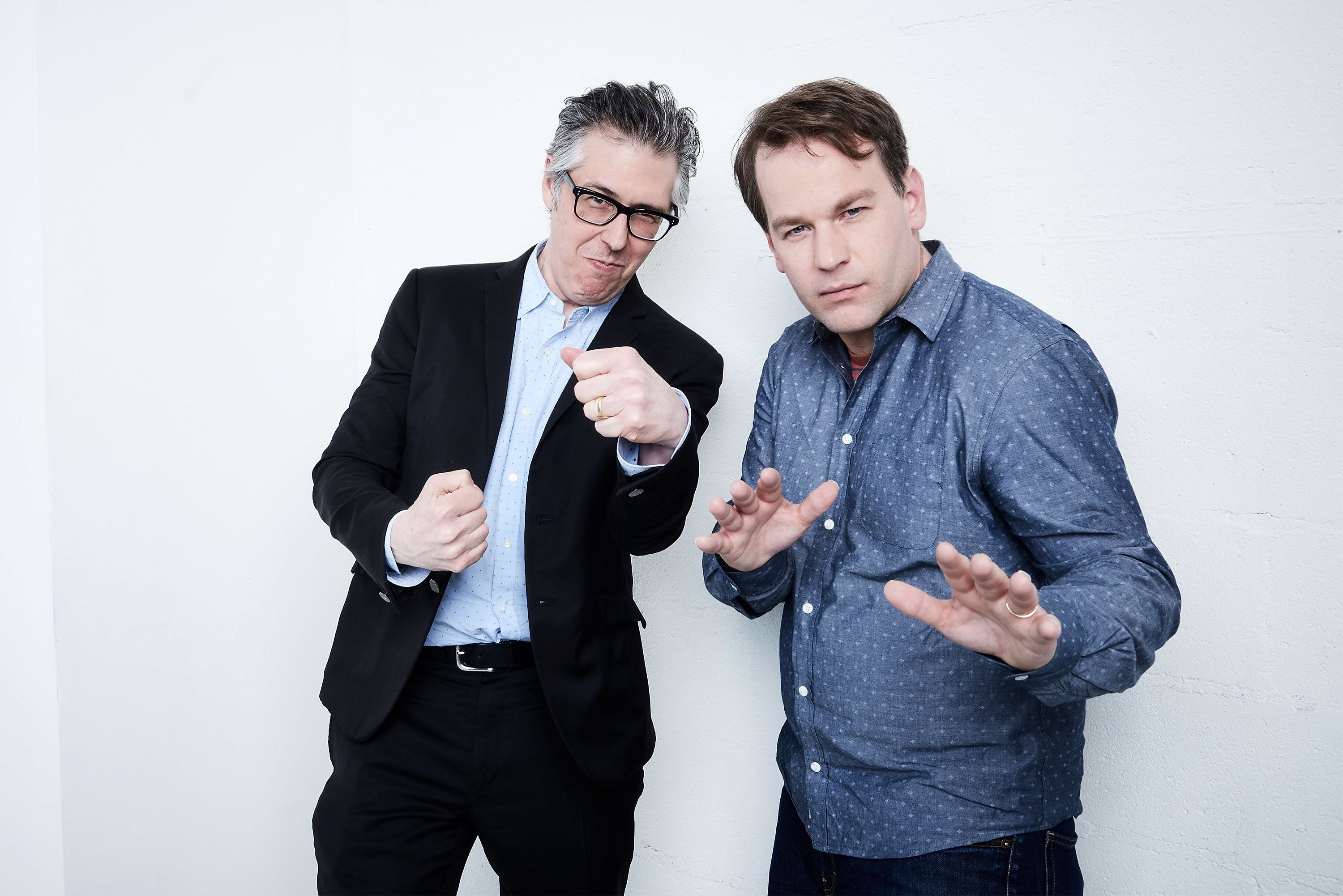 NEW YORK, NY - APRIL 18:  Producer Ira Glass (L) and actor, writer, and director Mike Birbiglia from 'Don't Think Twice' pose at the Tribeca Film Festival Getty Images Studio on April 18, 2016 in New York City.  (Photo by Larry Busacca/Getty Images for the 2016 Tribeca Film Festival )
