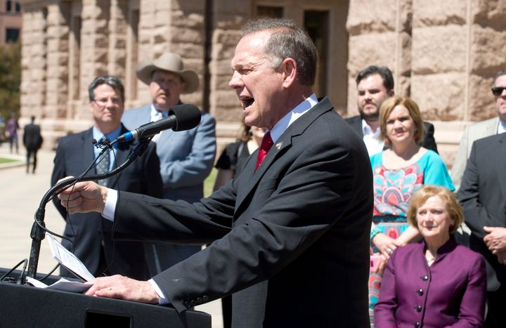 Alabama Supreme Court Chief Justice Roy Moore speaks at a rally of conservative Texas legislators who oppose gay marriage.