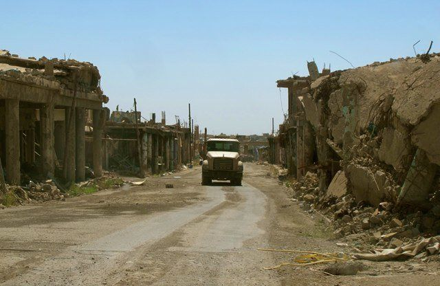 One of the roads in Sinjar, in northern Iraq, since it was retaken from ISIS last November. Few of its mainly Yazidi resident