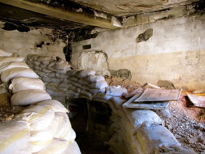 A sandbagged entrance to a tunnel built by ISIS under a home in Sinjar, when the group captured the city on August 3, 2014.