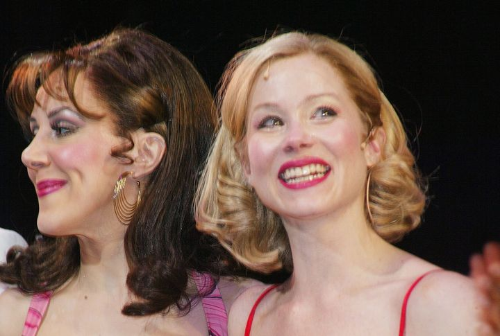"Janine LaManna and Christina Applegate at the Broadway opening of ""Sweet Charity"" in 2005."