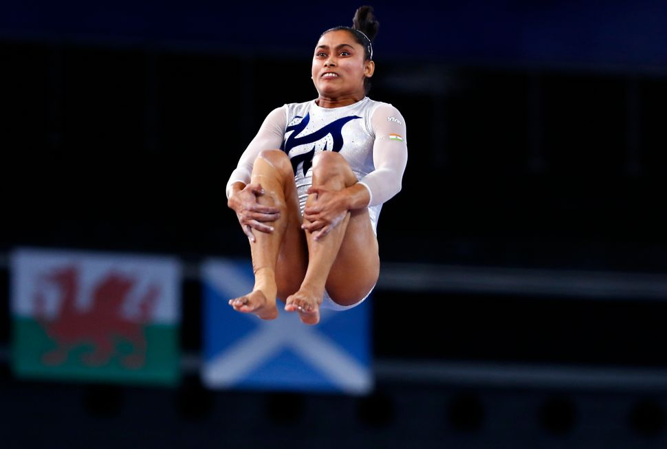 Dipa Karmakar performs during the women's gymnastics vault apparatus final at the 2014 Commonwealth Games in Glasgow, S