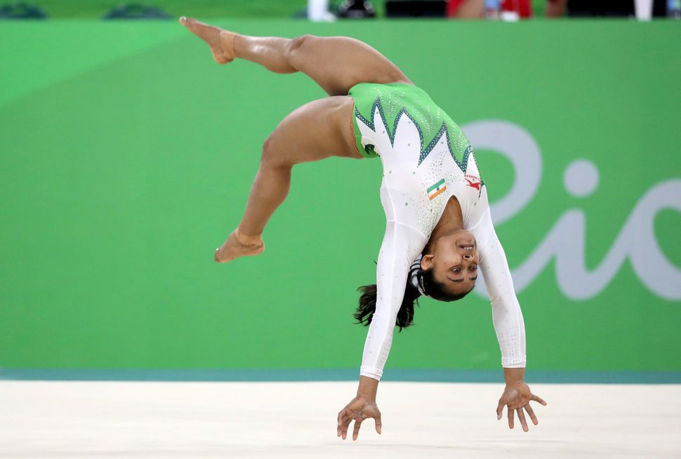 Dipa Karmakar competes on the floor exercise during the women's qualifications.